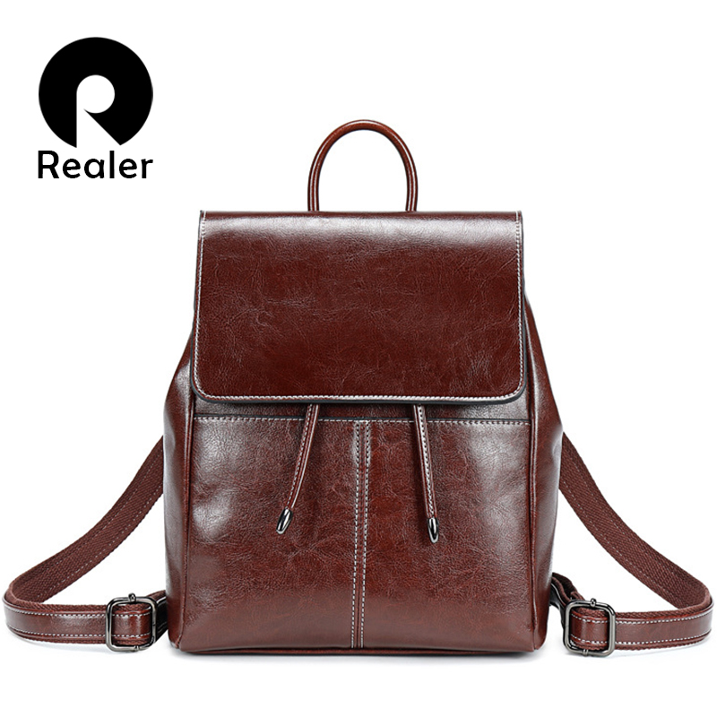 REALER Brand Backpack Women Fashion For Teenager Girl Oil Wax Cow Leather Backpacks Vintage School Bag Shoulder Bag Female