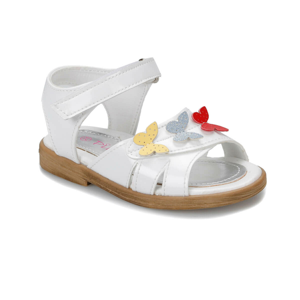 FLO 91. TIGGY-2. B White Female Child Sandals PINKSTEP