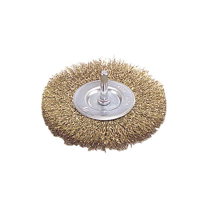 Steel Brush Brass Plated Disc 75mm. 1/4