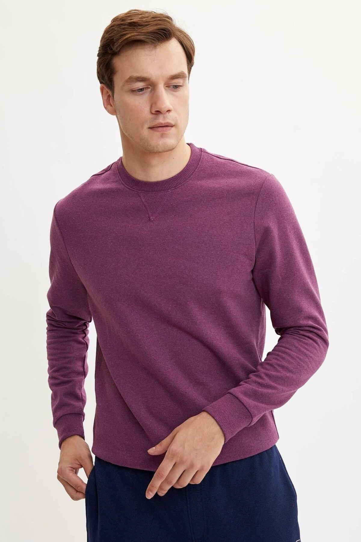 DeFacto Men Fashion Crewneck Solid Cotton Tops Casual Pullover Leisure Men Simple Pullover Autumn Joker New - L0949AZ19AU