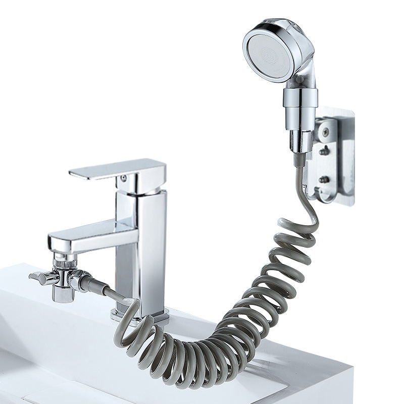 Bathroom Sink Faucet Sprayer Set Washbasin Basin Faucet Two-way Shower Bathroom Handheld Filter Telescopic Small Sprinkler Set S