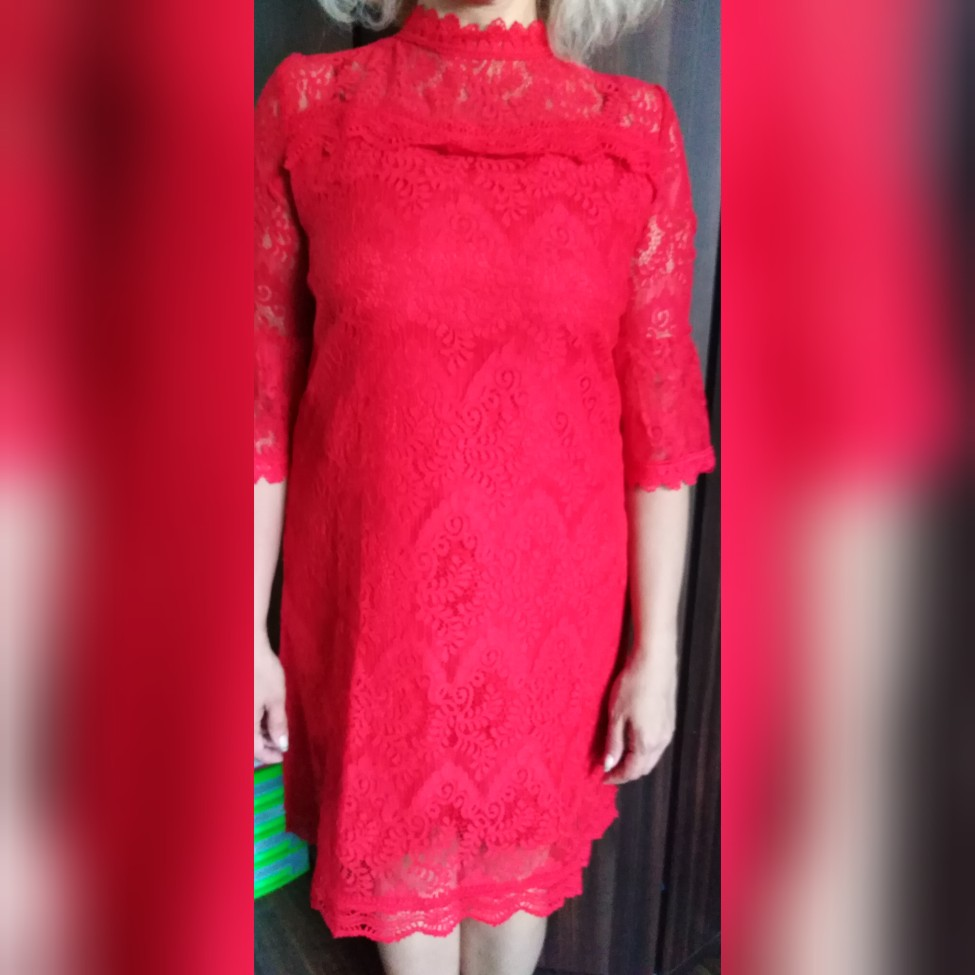 spring  Balck  red color lace Dress plus Size Hollow Out Flare Sleeve Collar Zipper Fly loose  Casual Lace Dress fashion 16089 reviews №1 51012