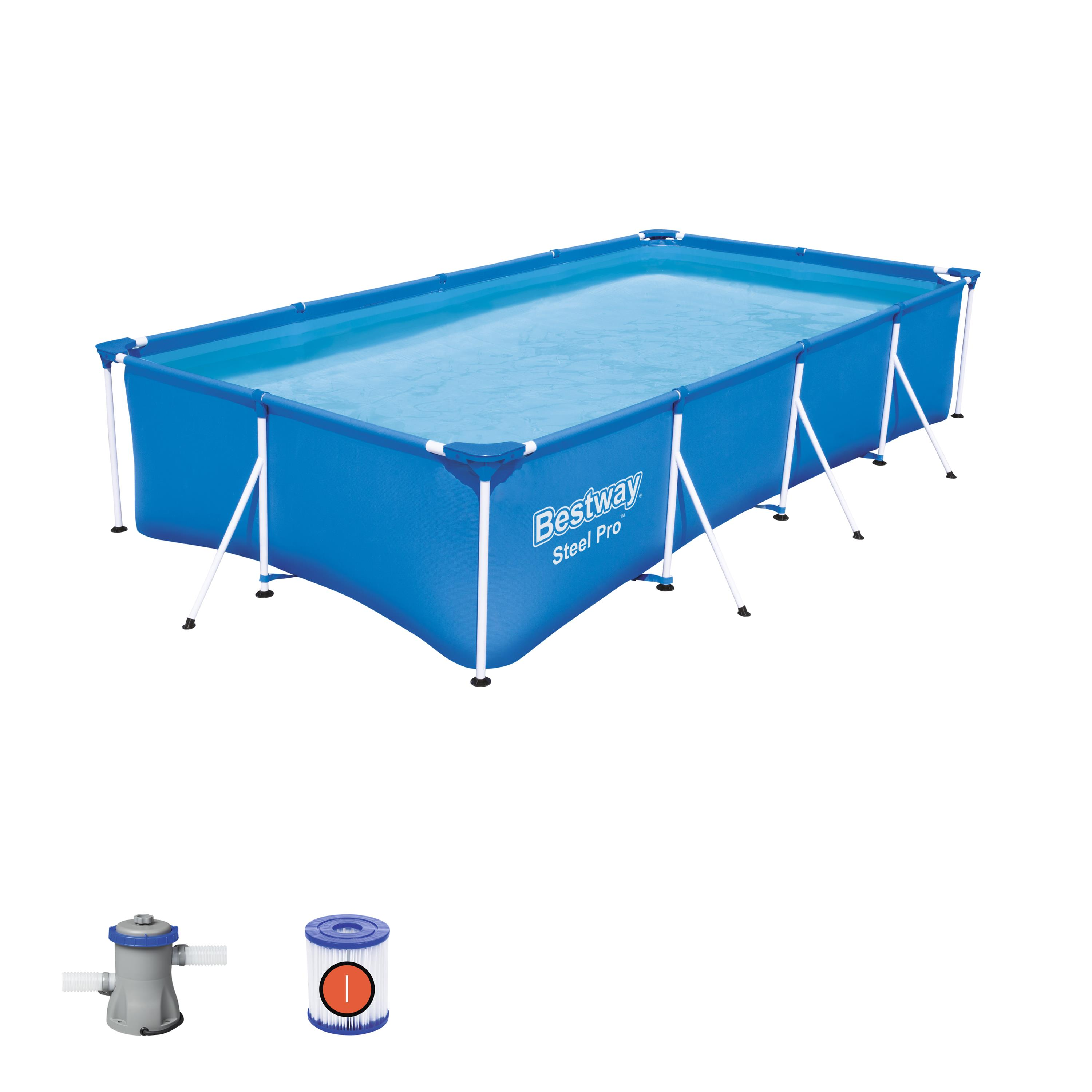 Scaffold Rectangular Pool 400 х211х81 Cm, 5700 L, Bestway, Blue, Item No. 56424/56082