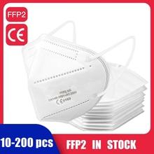 200/100/50/20/10 pces ffp2 máscara ce ffp2mask máscaras protetoras filtro de 5 camadas respirador anti-poeira máscara facial reutilizável mascarillas