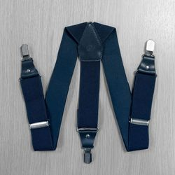 Suspenders for trousers wide, genuine leather (3.5 cm, 3 clips, dark gray) 54743