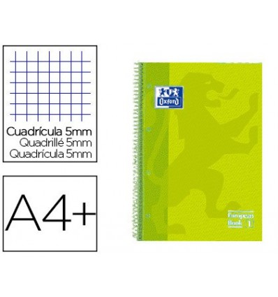 SPIRAL NOTEBOOK OXFORD EBOOK 1 TOP EXTRADURA DIN A4 + 80 H GRID 5 MM LIME TOUCH 5 PCs