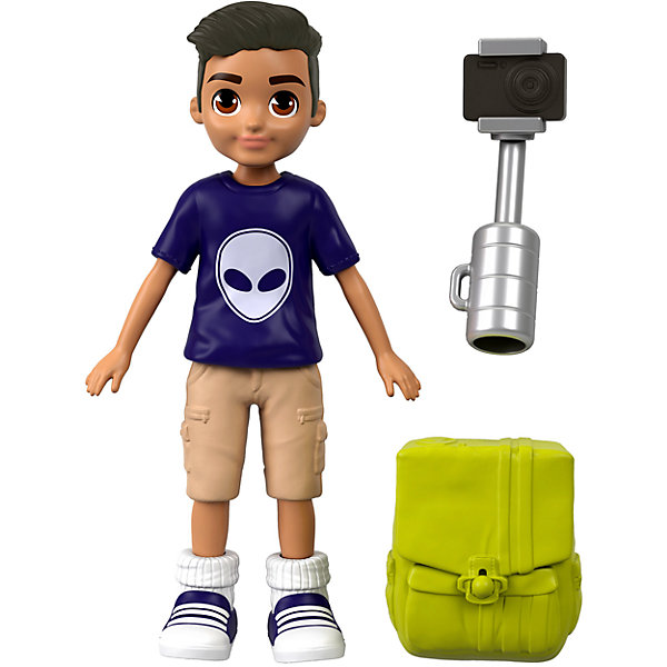 Mini Doll Polly Pocket Active Nicholas With Camera And Stick For Selfie