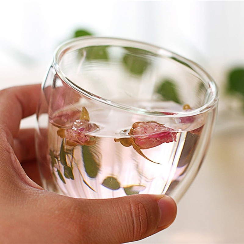 New 450ml 350ml 250ml 80ml Heat Resistant Double Wall Clear Glass Cup Tea Drinkware Cup Drink Health Regimen Mug Coffee Cup in Beer Steins from Home Garden