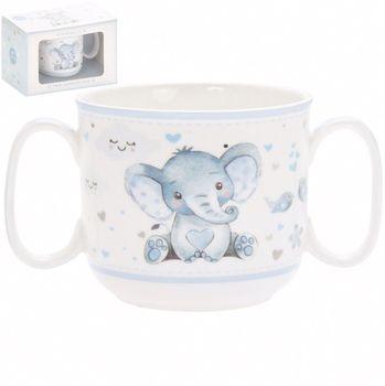 Mug with 2 handles for boy Ellie and bird 180 ml mug lefard 360 ml with pattern