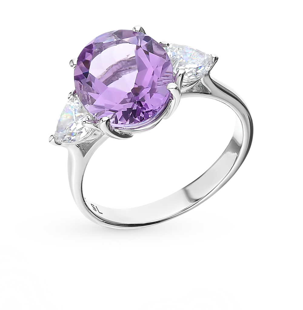 Silver Ring With Amethyst And Cubic Zirconia SUNLIGHT Test 925