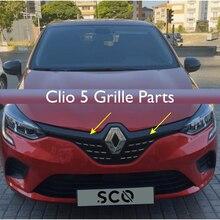 Pièces de calandre chromée pour voiture Clio 5, accessoire extérieur pour Renault Chrome, 6 pièces de calandre avant, 2020 2021