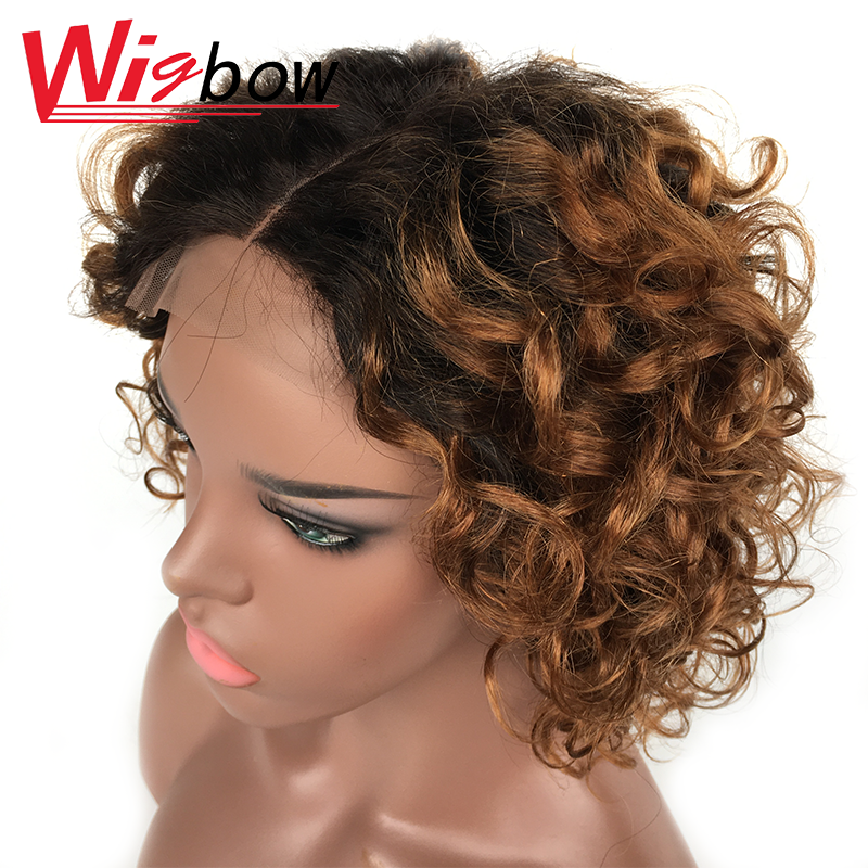 Short Wig Ombre Human Hair Wig Brown Wig Lace Wigs For Women Curly Wig Brazilian Hair Wigs Pre Plucked With Baby Hair 8 10 12