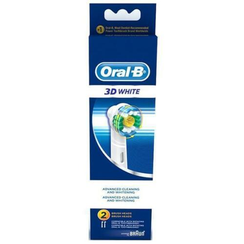 ORAL-B 3D White Replacement Toothbrush ORIGINAL Brush Heads Pack of 2 image