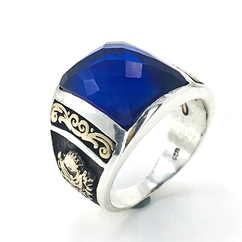Baget Sapphire Tuğra And Rigging Top Quality Silver Men 'S Ring