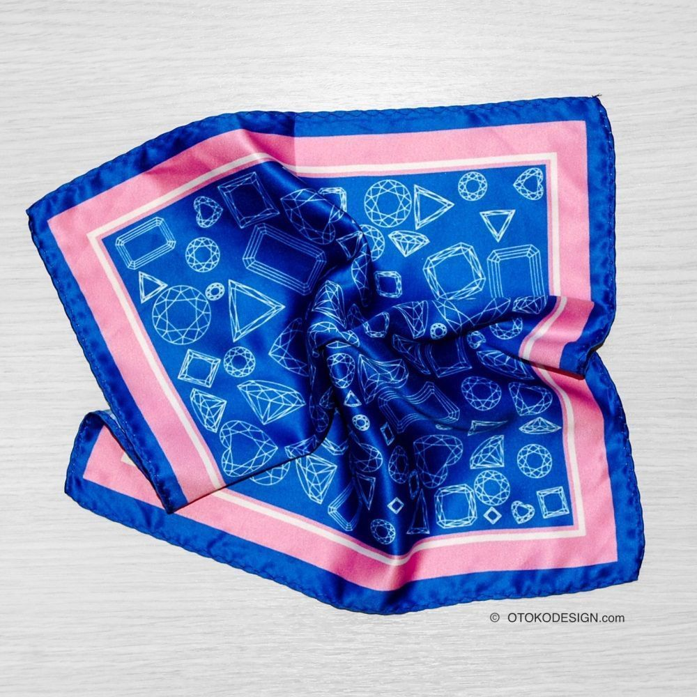 Blue Geometric Pocket Square With Pink Edging (52658)
