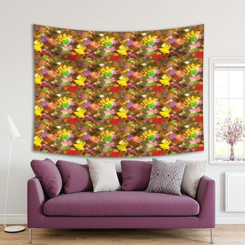 Tapestry Fallen Leaves Illustration with Autumn Mood Yellow Green Red Brown Colored Nature Theme Decorating