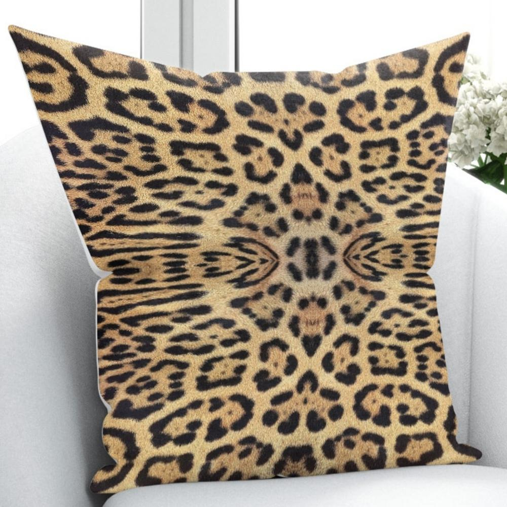 Else Brown Black Leopard Wild Animal Fur Design 3D Print Throw Pillow Case Cushion Cover Square Hidden Zipper 45x45cm title=