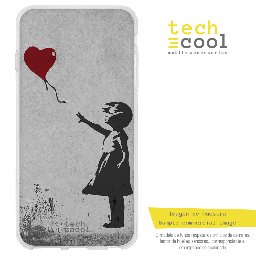 FunnyTech® Funda, carcasa para Nokia 5.1 Plus / Nokia X5 l Banksy Graffiti niña globo