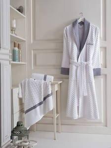 Maxhomen Manhattan Men's Turkish Cotton White Bathrobe Personal Set