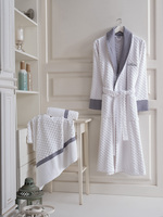 Maxhomen Manhattan Men's Turkish Cotton White Bathrobe Personal Set