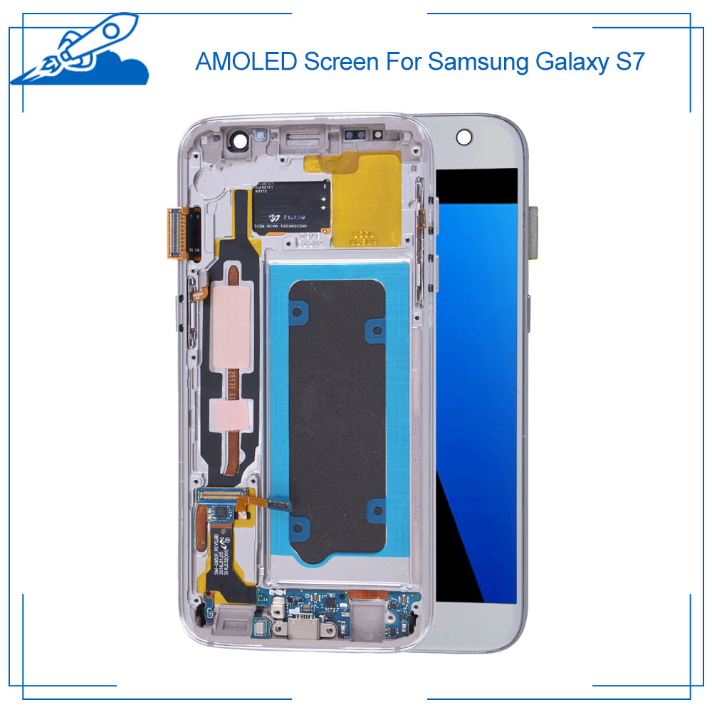 Ori For Samsung <font><b>Galaxy</b></font> <font><b>S7</b></font> <font><b>G930F</b></font> Super AMOLED <font><b>Display</b></font> Touch Screen Digitizer Assembly Replacement Parts No Died Pixel image