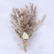 Hidden Botanics 2021 New  Pampas Grass Bridesmaid Groom Boutonniere Dried Flowers   Bridal Hair Wedding Accessories
