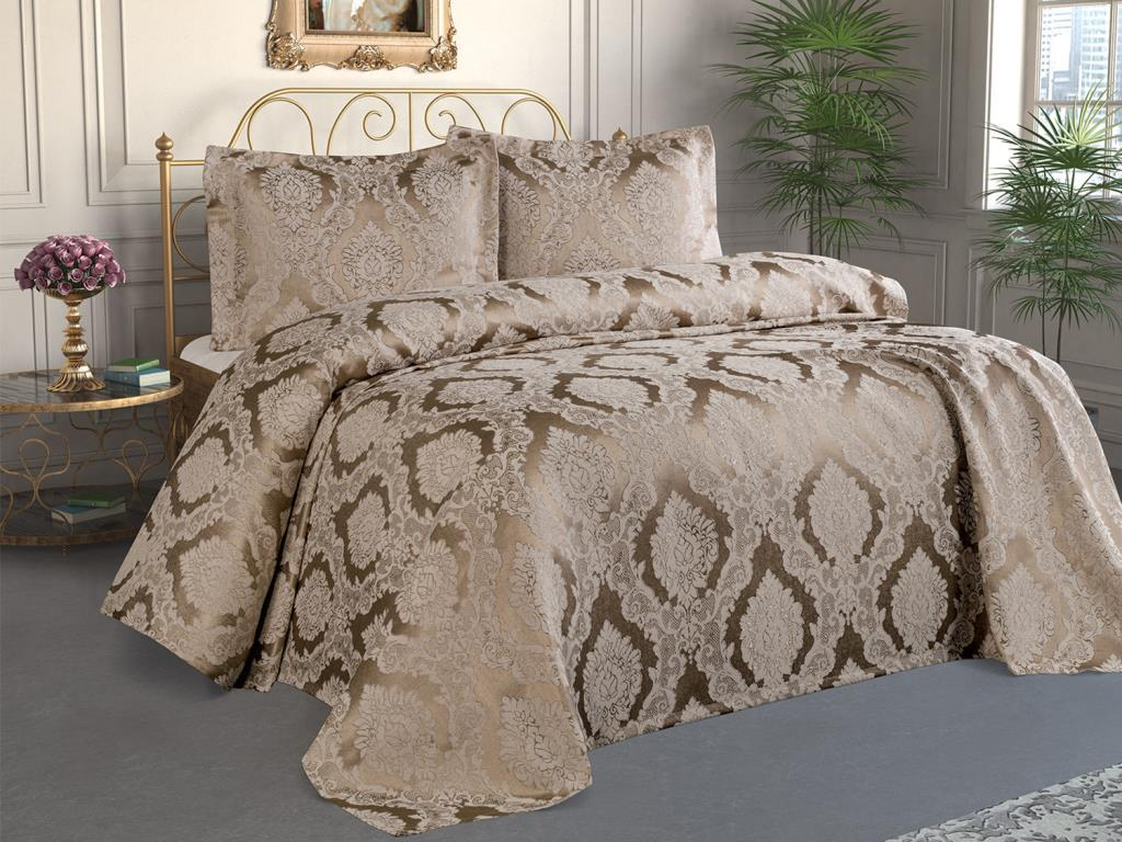 Şulem Jacquard Chenille Bed Cover Cappucino