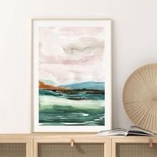Póster Vintage de pintura con paisaje de Pastel de acuarela abstracto minimalista lienzo artístico con pintura impresa para la decoración del hogar de la sala de estar