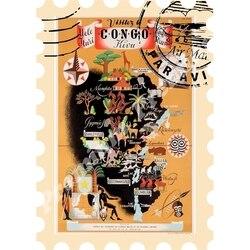 Kongo Afrika souvenir magnet vintage tourist poster