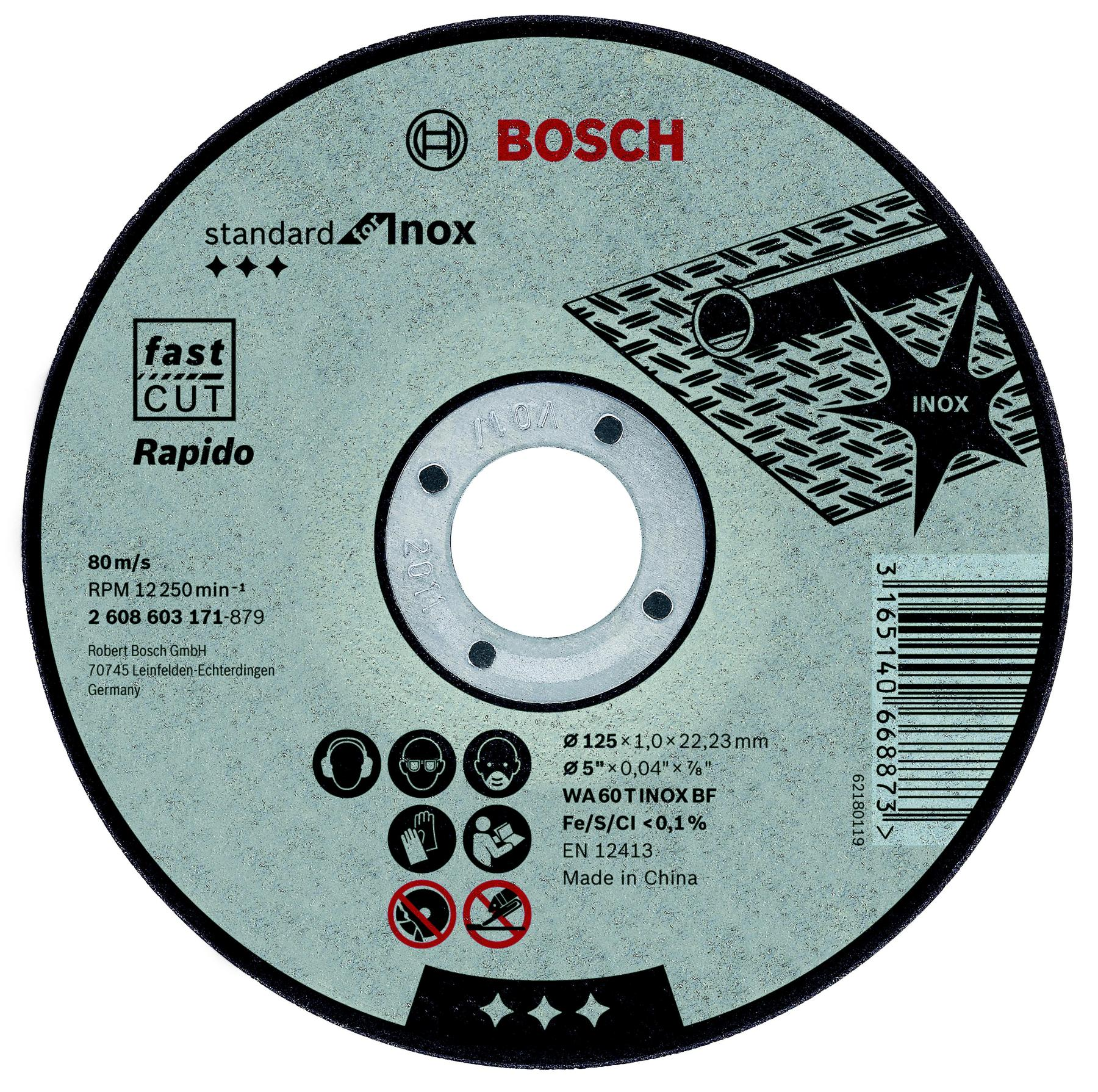 Circle Cutting BOSCH 115х1х22 Standard For Inox (2.608.603.169)