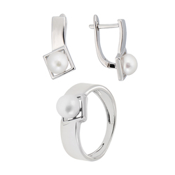 Модные женские серьги и кольцо с жемчугом.Элегантный комплект бижутерии QSY из меди под золото и серебро.