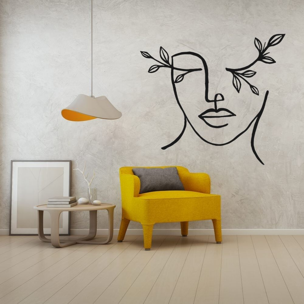 Face With Plant Line Art Wall Sticker  Aesthetic Home Bedroom Room Decoration Vinyl Removable A001332
