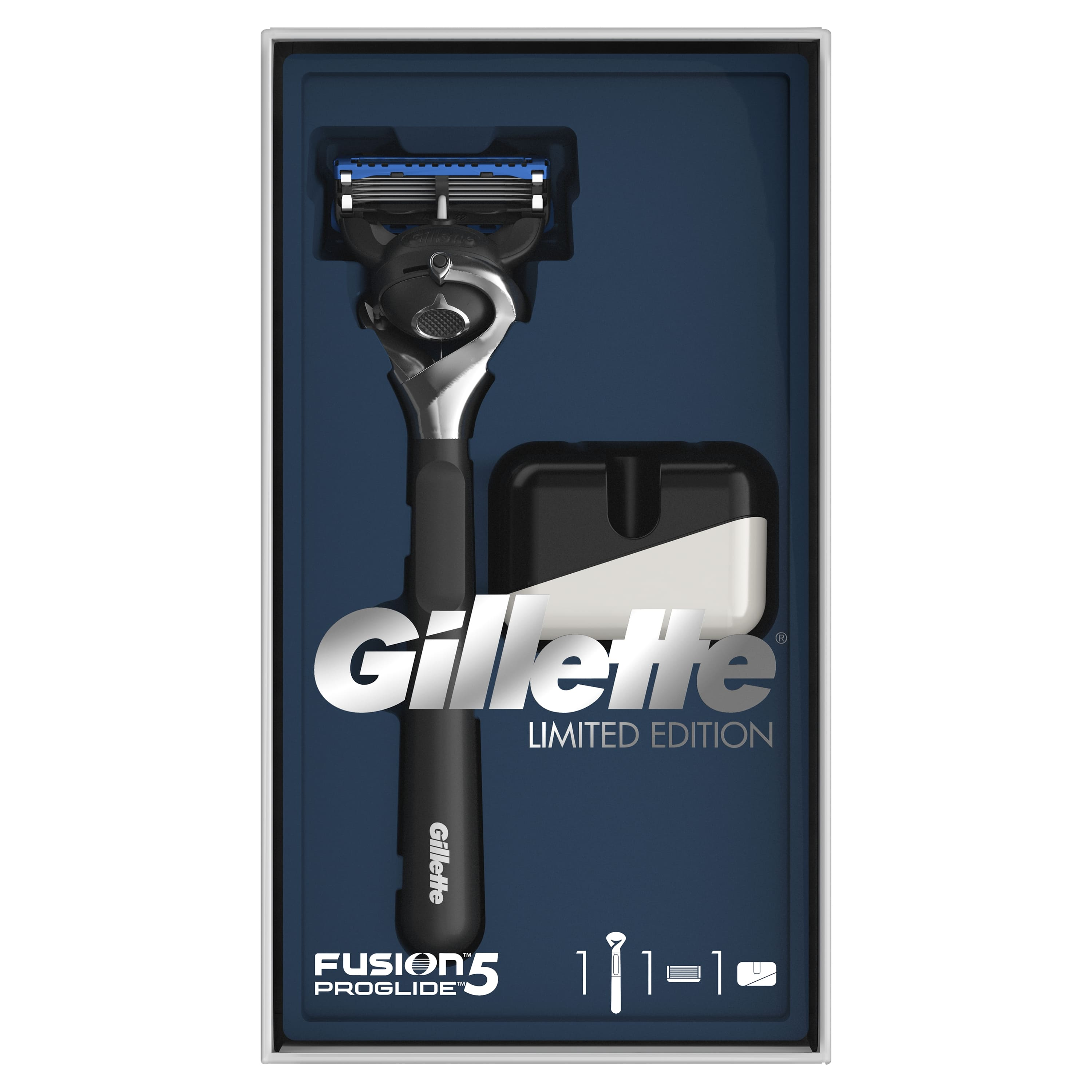 Gillette Fusion5 ProGlide Gift Set Limited Edition with Black Handle (Razor 1 Removable Cassette + Stand)