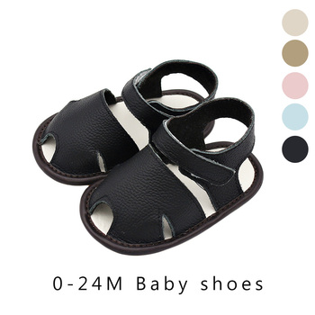 Cutout baby sandals Leather Shoes Toddler Kids gifts Soft 3-24M solid blue khaki black beige