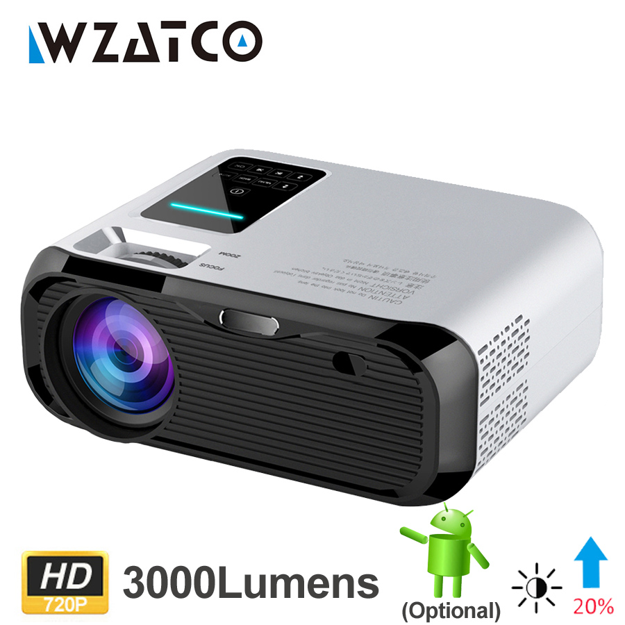WZATCO E500 3500 люмен Wifi Android 10 умный мини Портативный светодиодный проектор мультимедиа домашний мультимедийный проектор Поддержка Full HD 1080P Proyector