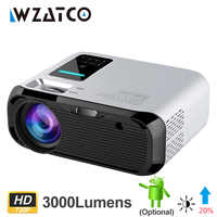 WZATCO E500 3500lumens Wifi Android 9.0 Smart Mini Portable LED Projector Multimedia Home Beamer Support Full HD 1080P Proyector