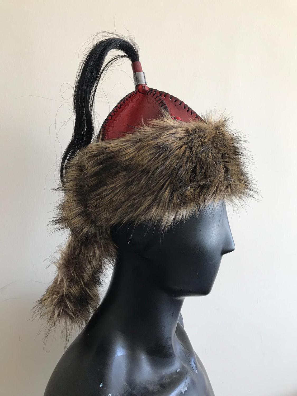 Medieval Leather Mongolian hat Wam hat Winter hat