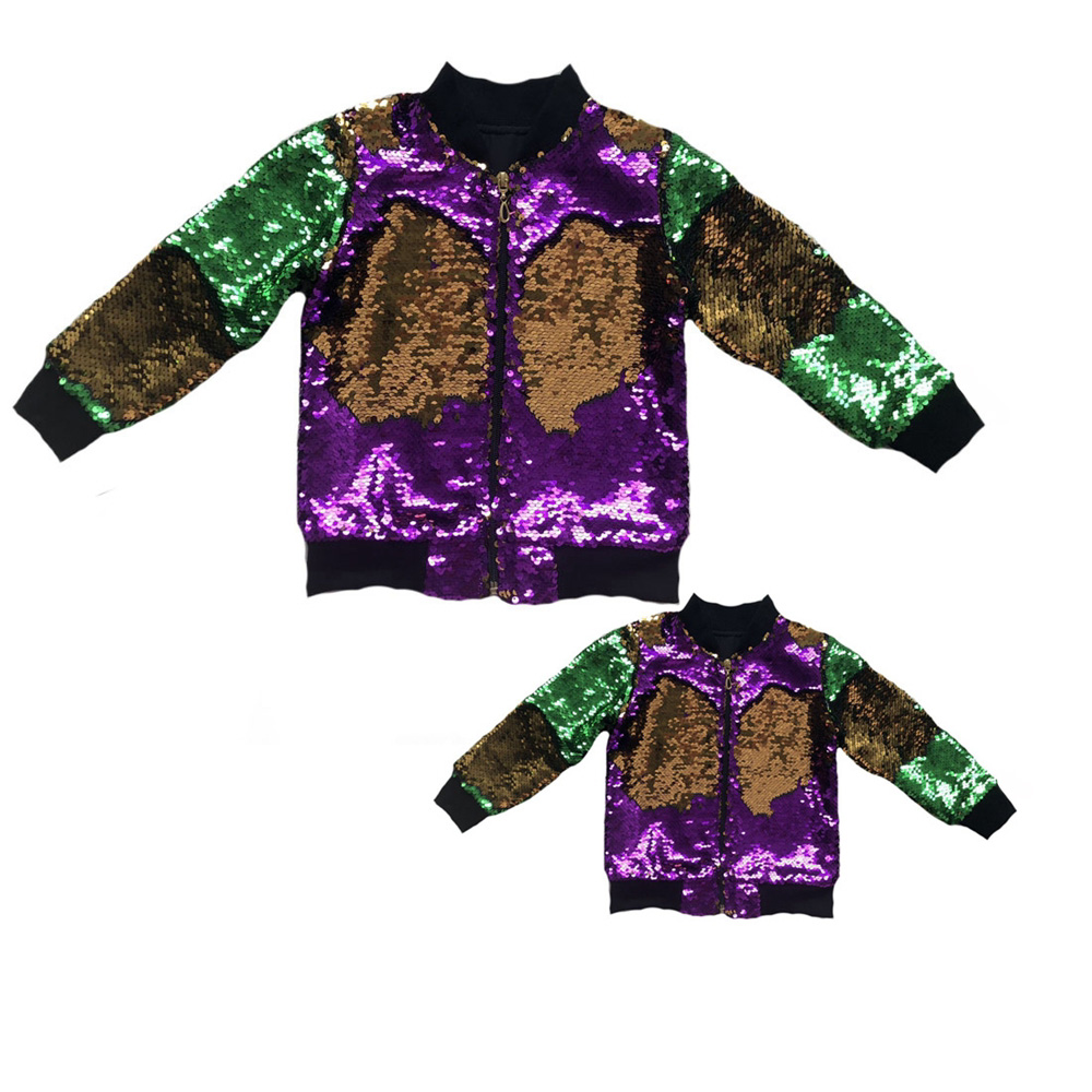 Wholesale Bulk Order Mommy&Me Mardi Gras Sequin Bomber Jacket Reversible Colour Change Sequins Coats 1pcs