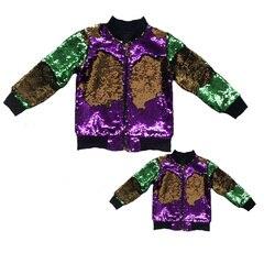 wholesale bulk order Mommy&Me Mardi Gras sequin bomber jacket reversible colour change sequins coats 1pcs