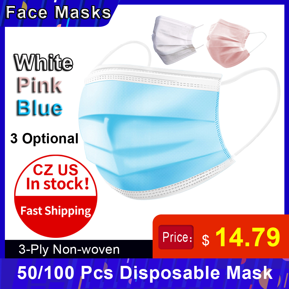 CZ US In Stock Disposable Mask Non-Woven Mask Dust Mask Face Mask 3-Layer Comfortabl Sanitary Mask Box Mask Anti-dust Mouth Mask