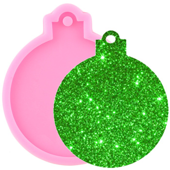 Shiny Christmas Ornament Keychains Mold Silicone Mould for Key Chain Pendant Polymer Clay DIY Jewelry Making Epoxy Resin Molds