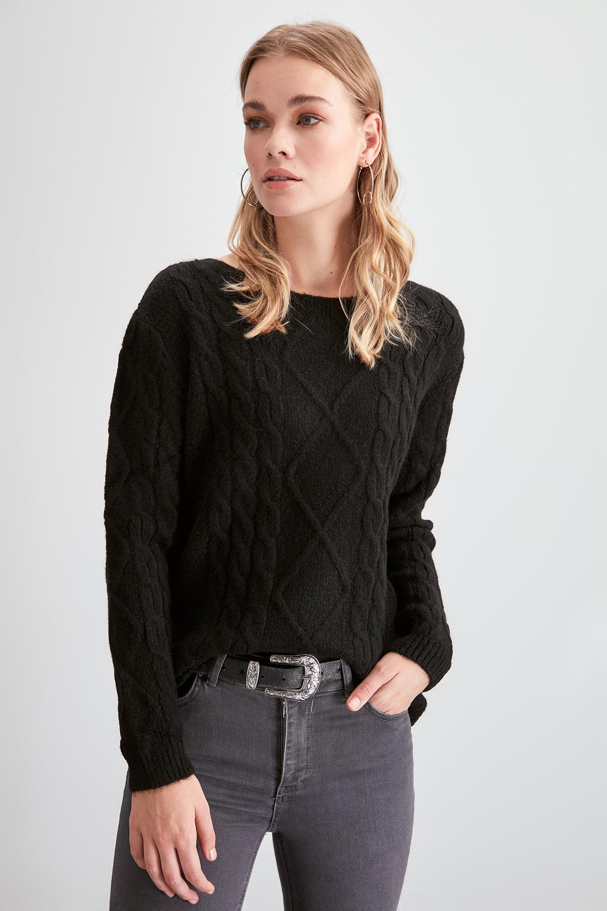 Trendyol Mesh Detailed Knitwear Sweater TWOAW20KZ1071