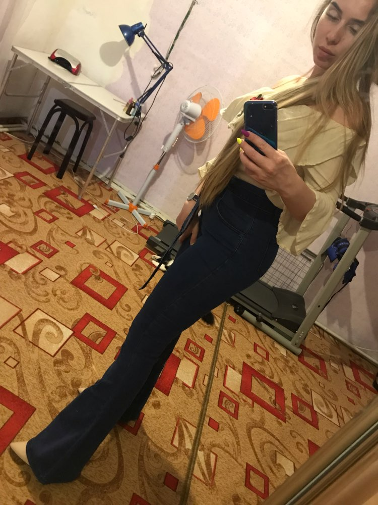 Navy Tie Waist Flare Jeans Woman Denim Trousers Vintage Women Clothes Fall High Waist Pants Belted Stretchy Jeans photo review