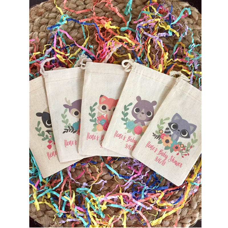 Woodland Theme Party Favor Bags Customize Baby Shower Welcome Treat Bags Animal Birthday Gift Bag Muslin Candy Bags Baptism Bag