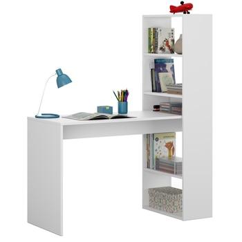 Desk Table with children's shelf desk study table children desk in white color, 144x120x53 cm