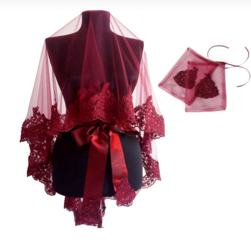 Комплект свадебной вуали для невесты, свадебный аксессуар из хны, элегантный кружевной гипюр бордового и красного цвета для женщин, 2020, 2021