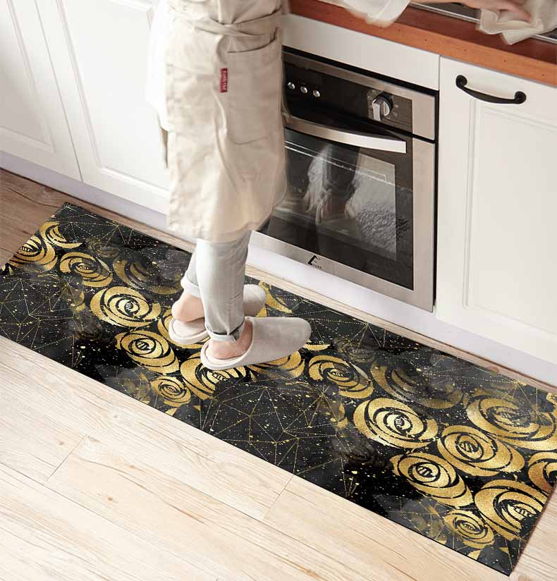 Else Black Clouds Yellow Golden Roses 3d Print Non Slip Microfiber Kitchen Counter Modern Decorative Washable Area Rug Mat