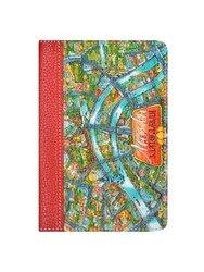 Cubierta en el pasaporte de surf en madera, caras y lugares, boceto de mapa de Moscú, нт. De cuero