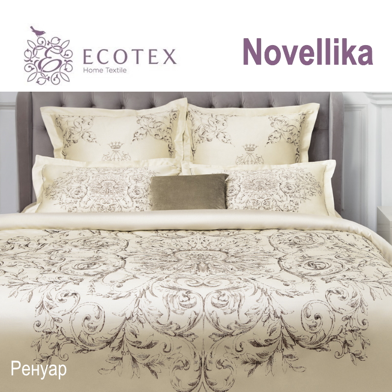 Bed linen set Renoir collection Novellika, fabric of lux-satin, production of Ecotex, Russian companies.
