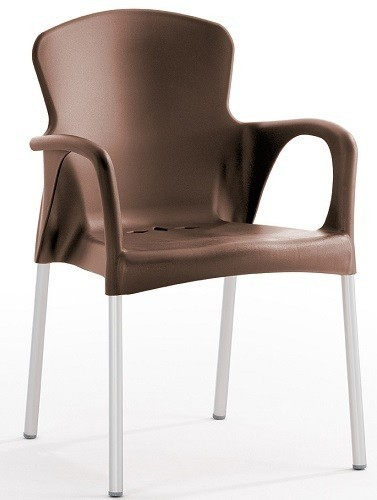 Armchair SEINE Stackable Polypropylene Chocolate *
